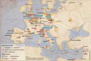 Późnośredniowieczna Europa. Ta i inne mapy są dostępne na stronie magazynu L'Histoire.